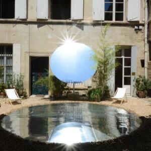 Disque en aluminium dibond face miroir - Festival des Architectures des Eaux Vives